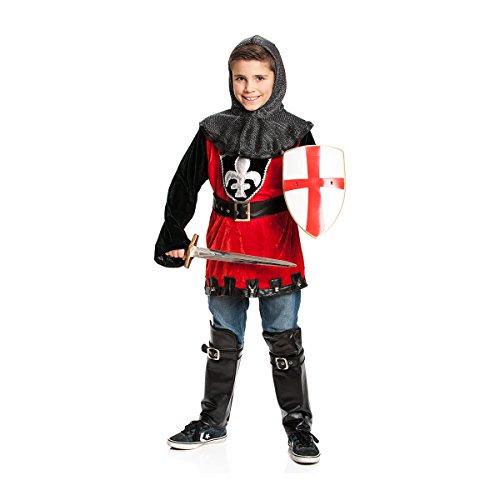 Kostümplanet® Ritter-Kostüm Kinder + Stiefelstulpen Größe: 152 Farbe: rot-schwarz, Verkleidung Faschingskostüm Kinderkostüm- Jungen - Kind Mittelalter Prinzen Kostüm