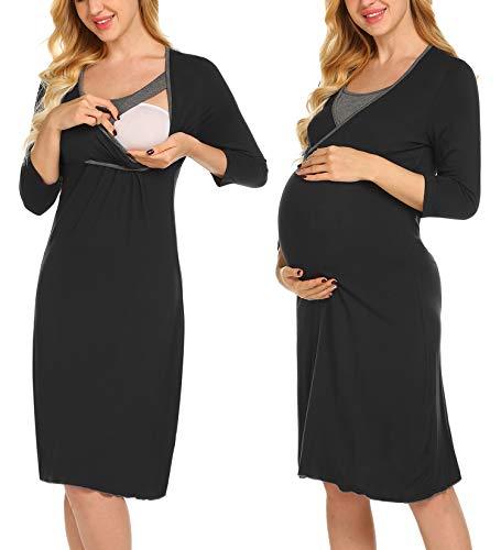 UNibelle Damen Umstandskleid Umstandsmoden Schwangerschaftskleider Maternity Kleid Winter Kleid 3/4 Ärmel Schwarz XL