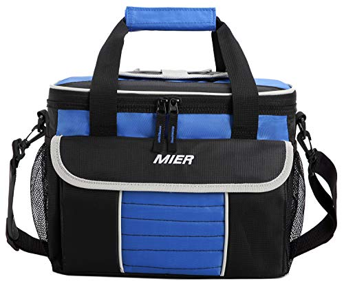 Mier grande morbida cooler bag insulated lunch box picnic bag raffreddamento tote con dispensazione coperchio, tasche multiple (nero blu)