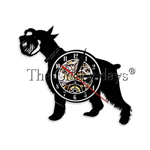 ttymei 1 Stück Schnauzer Hund Schallplatte Wanduhr Hunderasse Scottish Terrier Welpen Silhouette Wanduhr Porträt Kunst Hundeliebhaber Geschenk -