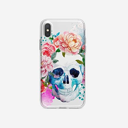 licaso iPhone X IPX Handyhülle TPU mit Skull & Roses Tattoo Print Motiv - Transparent Cover Schutz Hülle Aufdruck Lustig Funny Druck (Happy Halloween Transparentes Logo)