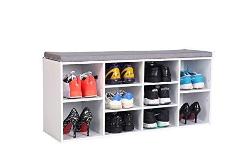 Wonderhome Banco Zapatos Rack Zapatos Madera 10 Rejillas