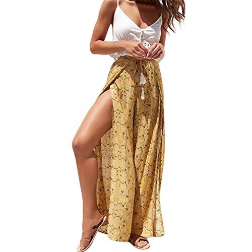 Millshop Casual Hohe Taille Breite Beinhosen Frauen Sommer Strand Split Hosen Vintage Floral Gemusterte Capris - Gelb Floral Capri-hosen