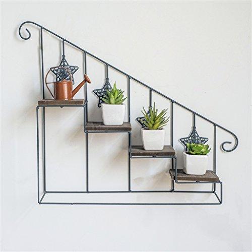 Preisvergleich Produktbild JNYZQ 4 Tier Leiter Blumen Racks Eisen Metall Wand montiert Blume Regal Holzbrett (größe : 1)