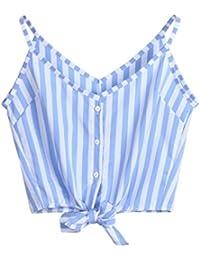 ASHOP Camisetas Muje, Camisetas Sin Mangas Tallas Grandes EN Oferta Suelto Tops Blusas de Mujer Elegantes de Fiesta Baratas Cuello en V…