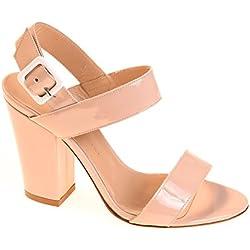 Tapeet Vicini Damen Pumps Sandalen Leder Natur, Schuhgröße:37