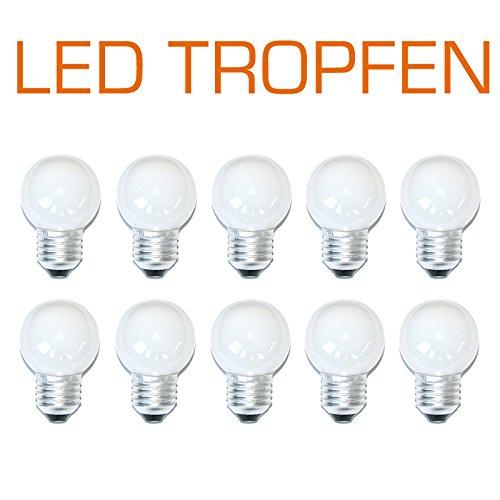 10 x LED Tropfen 0,8W E27 matt extra warmweiß 2200K Kunststoff auch für Außeneinsatz