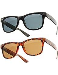 Lot de 2 Paires de lunettes de soleil style Wayfarer - Geek Retro Vintage 80's - Monture Coloris Noir + Ecaille - Fashion Tendance
