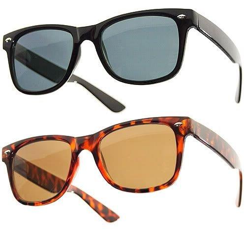 Lot de 2 Paires de lunettes de soleil style Wayfarer - Geek Retro Vintage 80's - Monture Coloris Noir + Ecaille - Fashion Tendance wN7P5Lr
