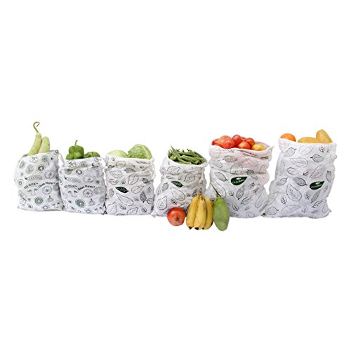 Clean Planet Eco-Friendly Natural Cotton Fruits & Vegetables Storage Bag for Fridge (Eco Veggie Set of Six)