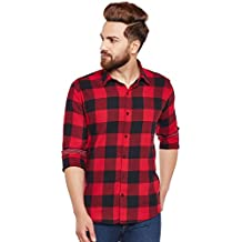 Hancock Red & Black Buffalo Checked Pure Cotton Slim Fit Casual Shirt-43541RED