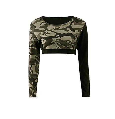 ZhiYuanAN Femme Vetement Yoga En Camouflage Sexy Tank Top À Manches Longues Ou Camo Legging Fitness Casual Sport Ensemble Camouflage top S