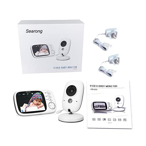 "Baby Monitor, Video Baby Monitor Wireless Baby Camera with Night Vision, Digital 2.4Ghz Baby Monitor with Two-Way Audio, Lullabies Temperature Searong 【3.2 inch LCD Display + 2.4GHz Wireless Transmission】Monitor with a large display screen to your baby's sleep with the most advanced High Quality Color LCD Display with Enhanced 2.4GHz FHSS Technology. Our premium video baby monitor provides high definition and stable streaming, secure interference-free connection and crystal clear digital vision and sound. 【VOX Auto Wake-up &Two Way Talk】VOX mode automatically switches the display to ""sleep mode"" to save battery power. The unit reactivates automatically as soon as it makes a noise in the room, especially when the baby is crying, the display will change from dark to light. Two way Talk, Two way talk audio function allows for a talk back communication so that care your baby with the sound of you. 【Long Connection Distance】Our baby monitor features long range between you and your baby's room.with the range up to 260 meters in open space,up to 50 meters indoor room. 7"