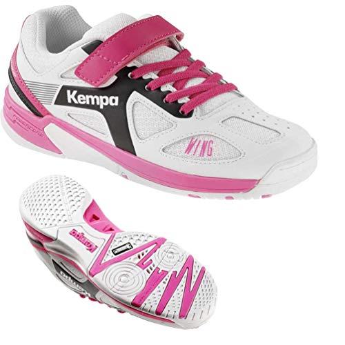 Kempa Schuhe Handballschuhe Turnschuhe für Kinder Mädchen weiß/lila mit Klettverschluss + Kempa Socken (32)