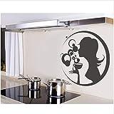 HAJKSDS Adesivo Murale Belle Donne Che Bevono caffè Wall Sticker per La Decorazione della Cucina Casa Decaly Carta da Parati in PVC Nero