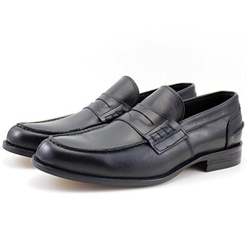 GIORGIO REA Scarpe Uomo Penny Loafers Mocassini Neri Fatti a Mano in Italia Vera Pelle Eleganti Scarpe Classiche Nero