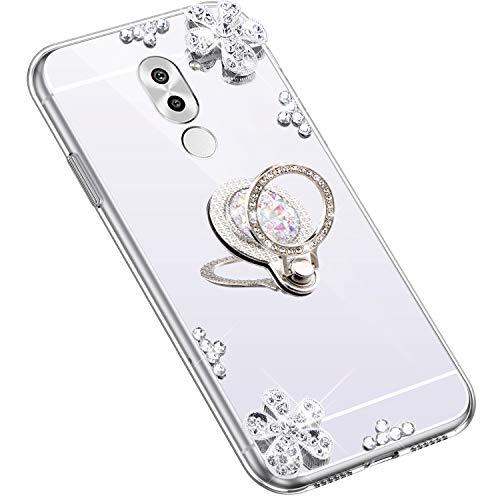Uposao Kompatibel mit Huawei Honor 6X Hülle Glitzer Diamant Glänzend Strass Spiegel Mirror Handyhülle mit Handy Ring Ständer Schutzhülle Transparent TPU Silikon Hülle Tasche,Silber