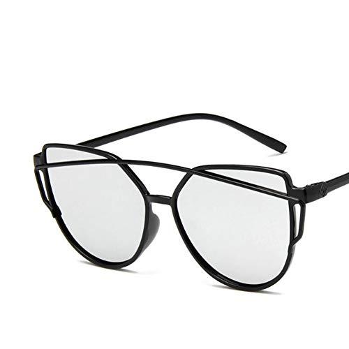 Taiyangcheng Cat Eye Frame Sonnenbrille Frauen Reflektierende Gold Gelb Schwarz Objektiv Spiegel Sonnenbrille Weiblich,Weiß