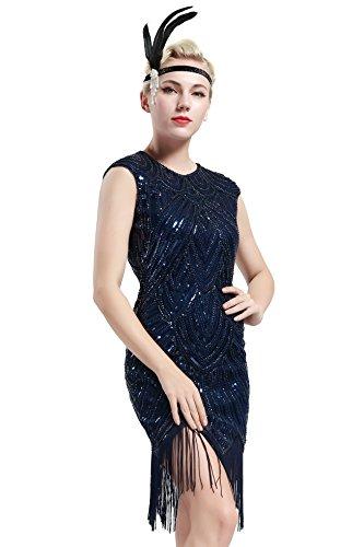 Babeyond Damen Kleid voller Pailletten 20er Stil Runder Ausschnitt Inspiriert von Great Gatsby Kostüm Kleid (Größe S / UK8-10 / EU36-38, Dunkelblau)