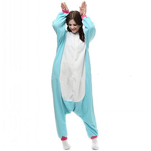 Misslight unicorno animali pigiama unisex cosplay carnevale costume pigiami camicie da notte per adulti e bambini (s, blue)
