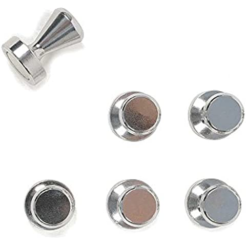 HAB & GUT (MC000-K) 6 BOLOS magnéticos neodimio, 15 x 21 mm, N35, imán muy potente, 6 unidades