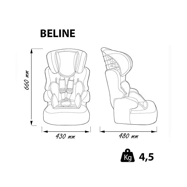 Child car seat Beline Grp 1/2/3 (9-36kg) with side protection - Nania Skyline black nania Booster seat with group 1/2/3 harness for children between 9 and 36 kg. The BELINE group 1/2/3 car seat is approved according to ECE R44/04 and is manufactured and tested in France. Beline car seat to transport your child in the car in complete safety. The car seat can only be installed facing the road in the back seat of the car. The car seat is secured with the 3-point seat belt and the child is secured with the 5-point harness. 4