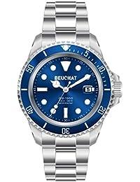 BEUCHAT GB 1950 BEU1950/2 - Reloj con correa de acero de cierre desplegable, fondo azul, resistente al agua, 200 m, diámetro de 44 mm