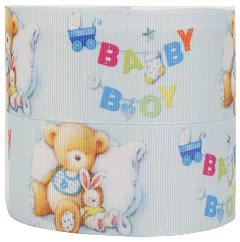 Reis of London 2m x 38mm blau Baby Junge mit Teddy & Bunny Band für Baby-Dusche Kuchen, Its A Boy Kuchen Taufe Kuchen, Geschenkpapier