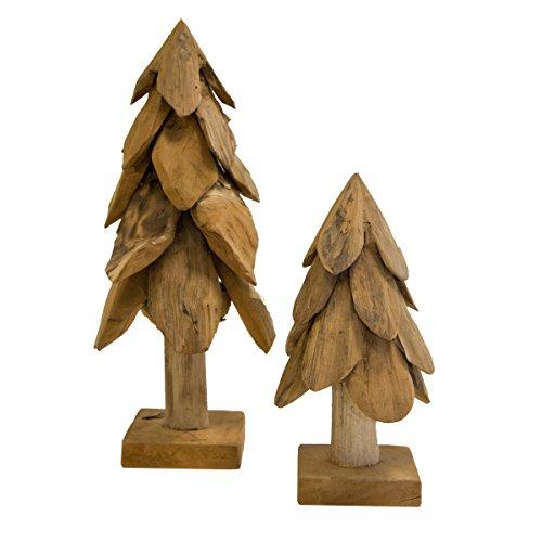 2 Stk. Weihnachtsbaum Dekobaum aus Teak Holz rustikal | 2er Set groß und klein | Tannenbäume Deko aus Teakwurzel | wunderschöne Weihnachtsdeko aus Holz | natürliche Dekoration als Weihnachtsfigur