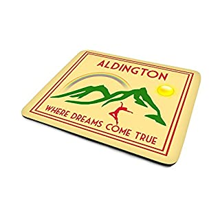 Aldington .'Where Dreams Come True', Art Deco Style, Humorous, Village, Town, Or City Location, Mouse Mat, 23cm x 18cm x 5mm approximately