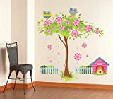 UberLyfe Pink Flowering Tree with Owls Wall Sticker (Wall Covering Area: 88cm x 85cm) - WS-000940