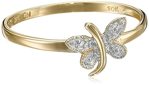 Amazon 10k Yellow Gold Dragonfly Ring with Diamond-Accent (0.005 cttw I-J Color I2-I3 Clarity) Size 7