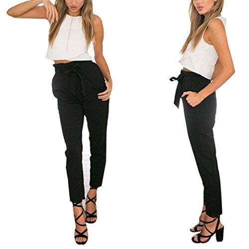 Longra Femmes Maigre Pantalons longs Décontractée Taille haute Stretch Slim Pantalon à Crayons Noir