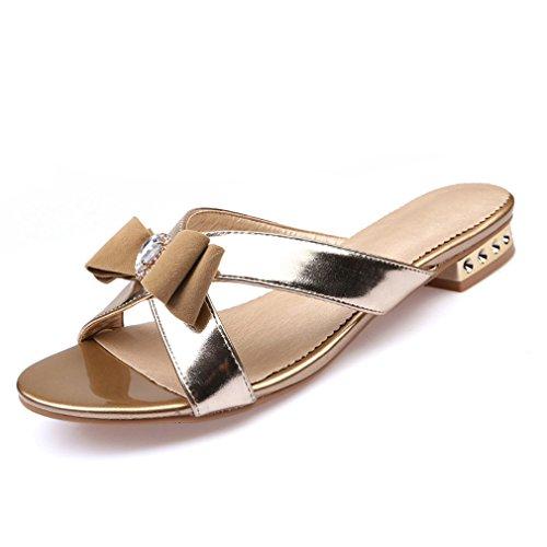 Mode Frauen Sandalen Damen Sexy Kristall Bling Bowtie Party Kleid Schuhe Frau Sommer Strand Schuhe Mädchen Folien Gold PU 7.5