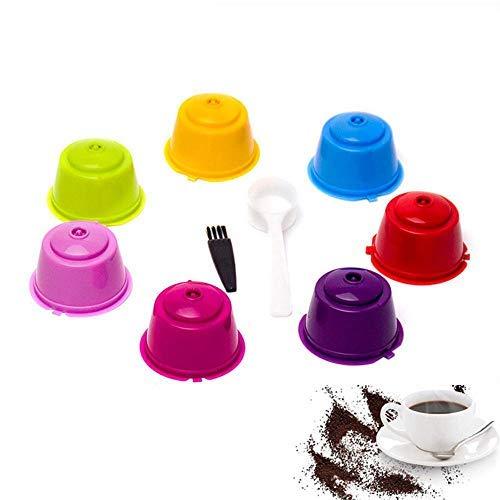 Ricaricabile caffè capsula 7 pcs, umiwe riutilizzabile filtro per macchina da caffè per caffettiera dolce gusto con 1 cucchiai in plastica e 1 pennelli brown (multicolor 7)