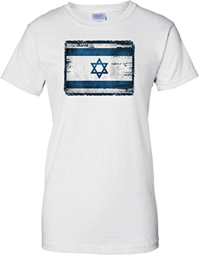 Israel Grunge Grunge Effect Flag - Ladies T Shirt - White - 16 (Flag-football Israel)