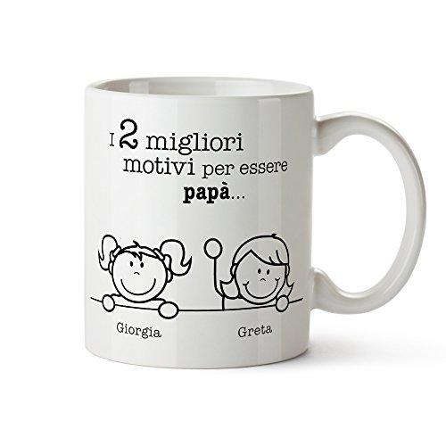 Tazza in ceramica bianca con stampa - i migliori motivi per essere papà - personalizzata con [nomi] dei figli - tazza da tè - regalo originale per il papà - festa del papà - regali di natale