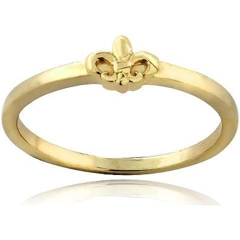 Oro, argento Sterling, motivo Fleur De Lis-Anello a fascia in metallo metà lucido