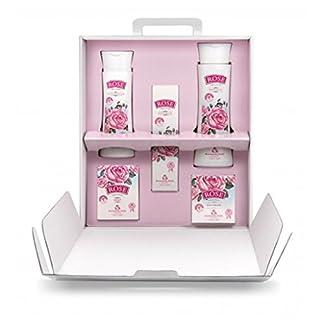Rose Original Set de Regalo de Mujer de 5 Pcs. con Aceite de Rosa 100% Natural Agua Micelar, Gel de Ducha, Crema de Dia Facial, Crema de Manos y Jabón Sin Parabenes