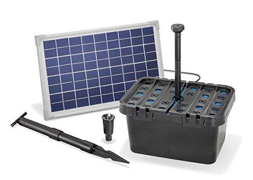 Solar Teichfilterset Starter 610 l/h Förderleistung 10 W Solarmodul Komplettset bis 2000l Gartenteich 101066