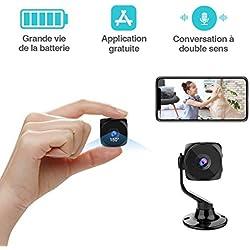 Mini Caméra Espion Cachée KEAN WiFi Cam IP Full HD 1080P Portable sans Fil Spy Vision Nocturne Détection de Mouvement Micro Caméra de Surveillance de Sécurité Intérieure / Extérieure
