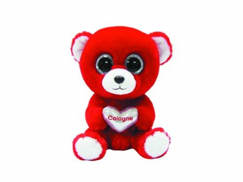TY 7136115 - Cologne - Bär mit Glitzeraugen, Glubschi, 15 cm, rot mit silberfarbenem Herz -