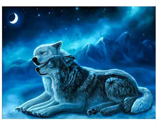 CNLSZM DIY Diamant malerei Zwei Wolf landschaftsmalerei Hund Essen Monat volle runde/runde Diamant Stickerei wandaufkleber wohnkultur 50x70 cm (Hund Diamant Essen)