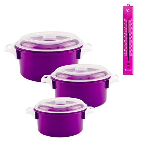 Lantelme Mikrowellenschüssel rund Thermometer 4 teilig Küchen Mikrowelle Schüssel 2. Wahl Kunststoff violett 6446