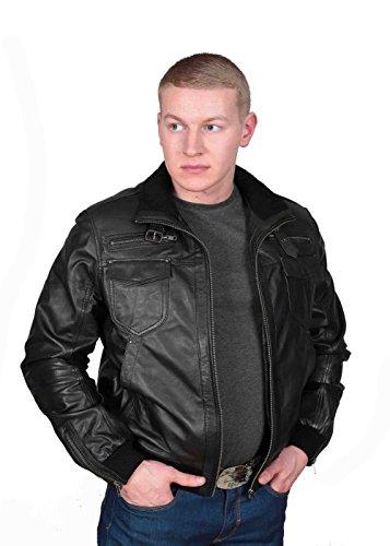 Herren Gepaßte Bomber Lederjacke Designer weiche hochwertige Mantel George Schwarz - 6
