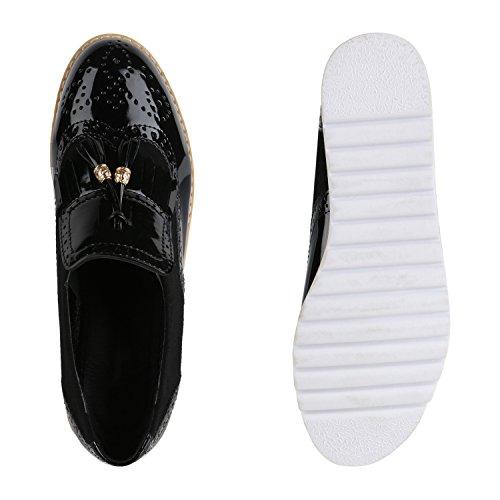 Damen Slipper Fransen Lack Schuhe Profilsohle Flats Schwarz Schwarz