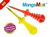 Mangos zubereiten war nie einfacher? MangoMax einfach in den Kern der Mango eindrehen, Mango schälen und schneiden, fertig. Ihre Hände bleiben sauber und ihre Küche auch!