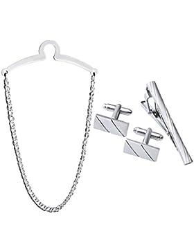 Zysta Herren Silber Gold Krawattenklammer Krawattennodel Krawattenkette Manschettenknöpfe Geschenk Set hochwetige...