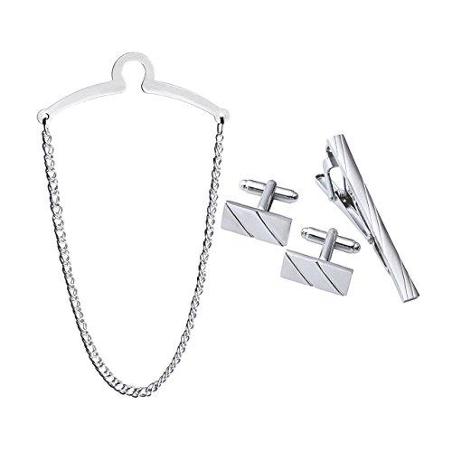 Zysta Herren Silber Gold Krawattenklammer Krawattennodel Krawattenkette Manschettenknöpfe Geschenk Set hochwetige Geschenkset aus Edelstahl (Stil 2)