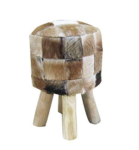 Meubletmoi Tabouret Rond Patchwork Peau de chèvre et Pieds en Teck Robuste & Design - Style Cosy...